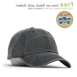 Vintage Washed Cotton Adjustable Baseball Cap + FREE Sew/Iro