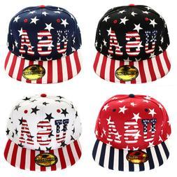 American USA Flag Printed Baseball Hat Cap Snapback Adjustab