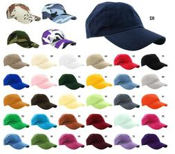 Baseball Cap Hat 100% Cotton Polo Style Washed Plain Solid A