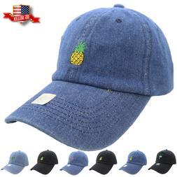 Baseball Cap Denim Embroidery Cotton Adjustable Dad Hat Polo