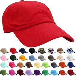 Falari Baseball Cap Hat 100% Cotton Adjustable Size Red 1803