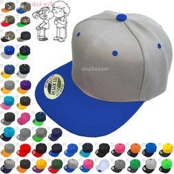 Baseball Cap Kids Solid Plain Boys Children Snapback Hat Cla