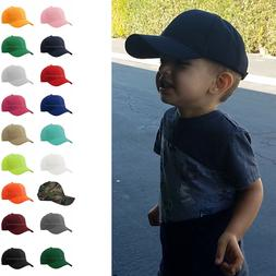 Baseball Cap Plain Kids Boys Strapback Solid Hats Polo Style