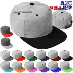 Baseball Cap Snapback Hat Flat Brim Blank Plain Solid Adjust