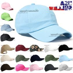 baseball cap washed cotton strap adjustable plain