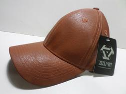 Top Level Baseball Caps Foux Leather Camel Brown