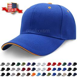Baseball Caps Plain Strapback Sandwich Adjustable Solid Viso