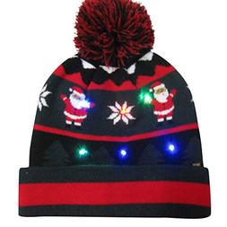 Adagod Colorful Merry Christmas LED Light-up Knit Hat Beanie