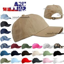 Cotton Baseball Cap Washed Polo Style Hat Plain Adjustable S