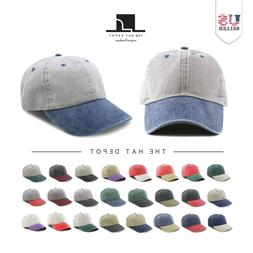 The Hat Depot Cotton Pigment Dyed Two Tone Low Profile Six P
