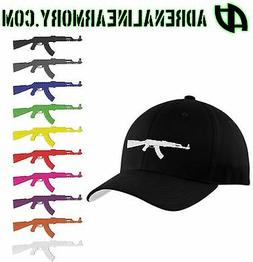 CUSTOM AK-47 FLEXFIT Cotton BLACK Hat Baseball Cap YOU CHOOS