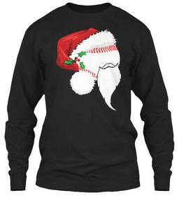 Cute Baseball Santa Hat Christmas T Shir Gildan Long Sleeve