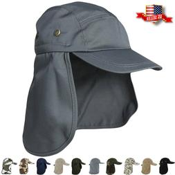 Ear Flap Sun Hat Neck Cover Baseball Cap Visor Camo Army Fis