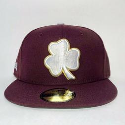 New Era Fitted Hat Cap 5950 Maroon Shamrock Aquinas Baseball