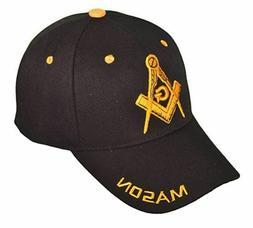 Freemason Black Embroidered Adjustable Hat Mason Masonic Lod
