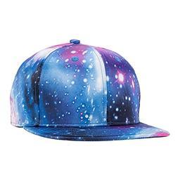 Galaxy Snapback Unisex Hat Hip Hop Plaid Flat Brim Adjustabl