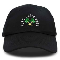 DALIX Good Vibes Baseball Cap Dad Hat Womens Mens Hats Black