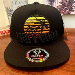 Good Vibes Palm Trees Sun Beach Seagulls Top Level Snapback
