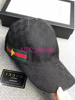 GUCCI HAT Black,MEN'S/WOMEN,CANVAS BASEBALL CAP,ADJUSTABLE,S