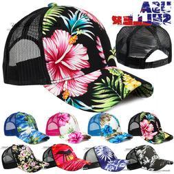 Trucker Hat Hawaiian Baseball Mesh Cap Tropical Floral Snapb
