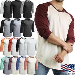 Mens Baseball RAGLAN T Shirts 3/4 Sleeve Tee Plain Team Spor