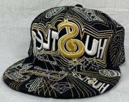 Hustler Black N Gold Fitted Baseball Hat Cap Flat Bill Size