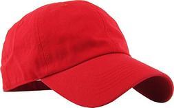 KB-LOW RED Classic Cotton Dad Hat Adjustable Plain Cap. Polo