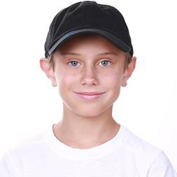 KBC-13LOW BLK  Kids Boys Girls Hats Washed Low Profile Cotto
