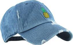 KBSV-024 MDM Pineapple Vintage Distressed Dad Hat Baseball C