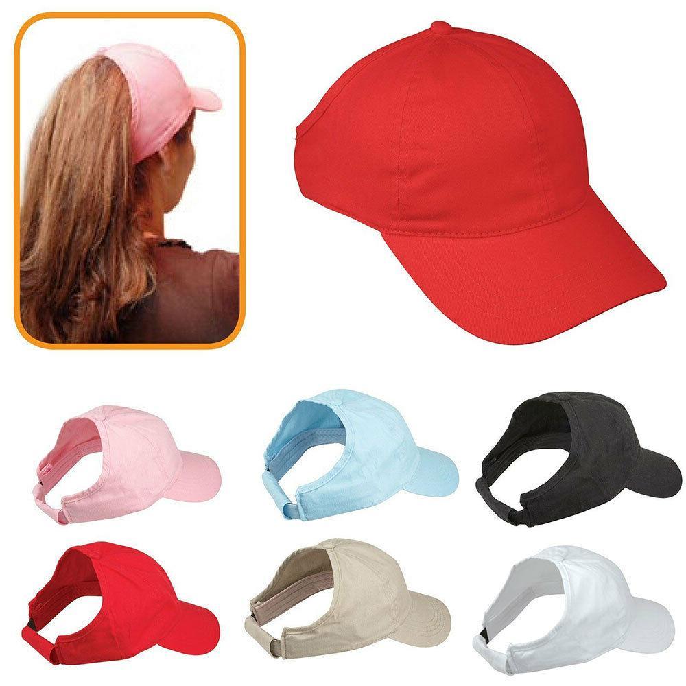 100% Cotton Ponytail Visor Baseball Caps Hats Flex Elastic C