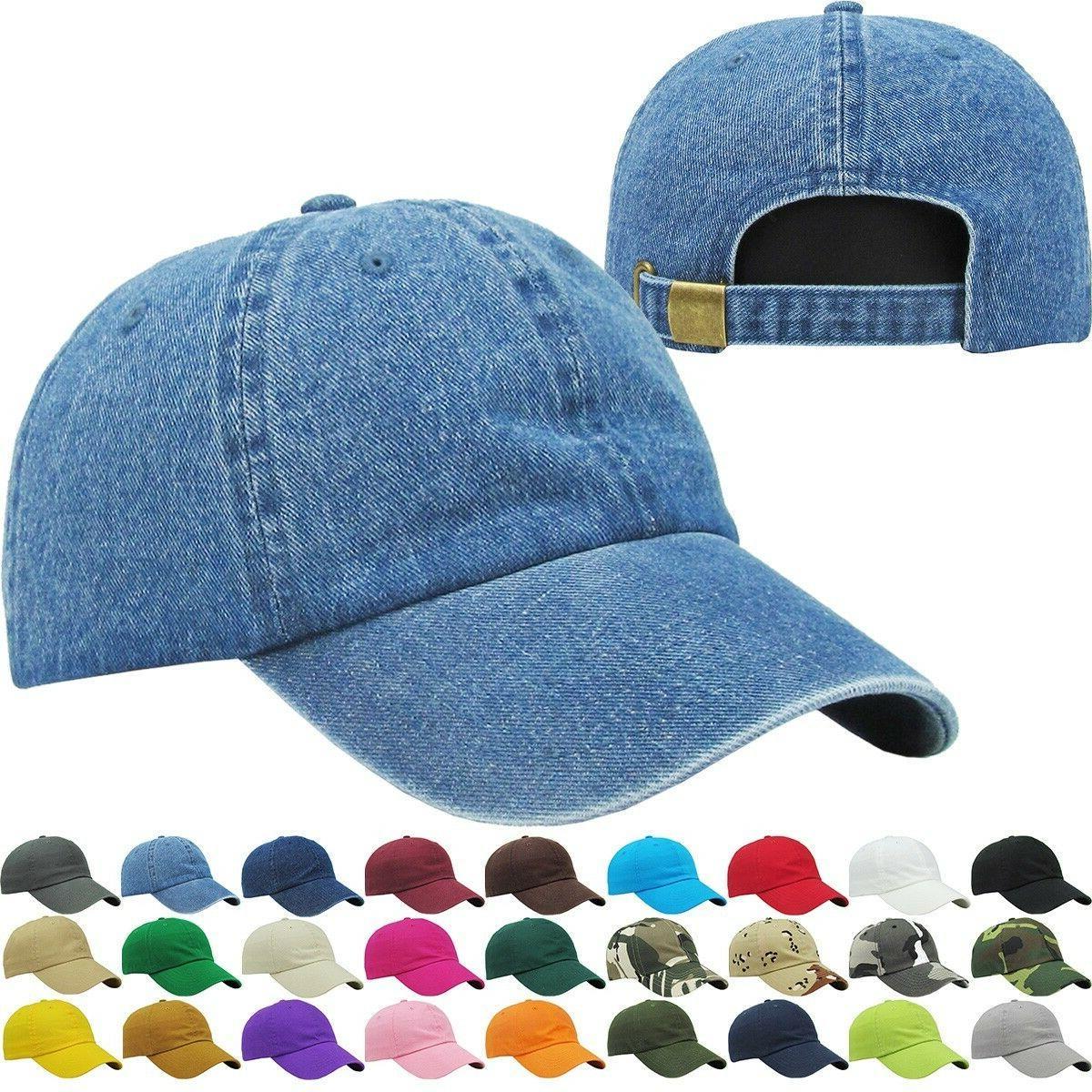 adjustable low crown solid baseball caps denim