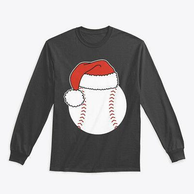 baseball ball in santa hat gildan long