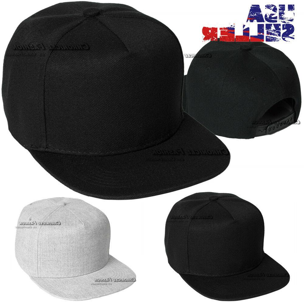 Baseball Cap 5 Panel Flat Hat Snapback Solid Plain Blank Hat
