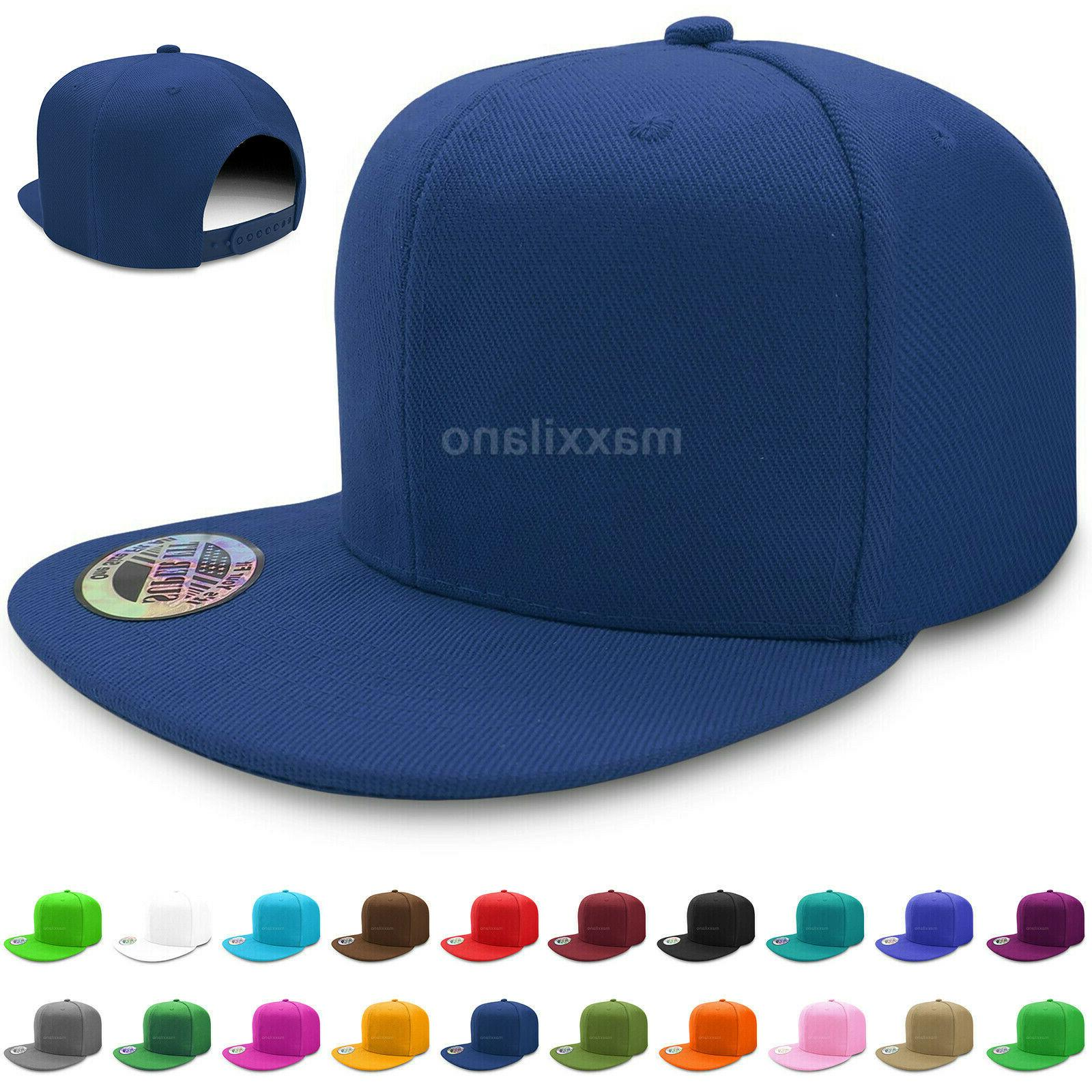 baseball cap mens plain solid blank snapback