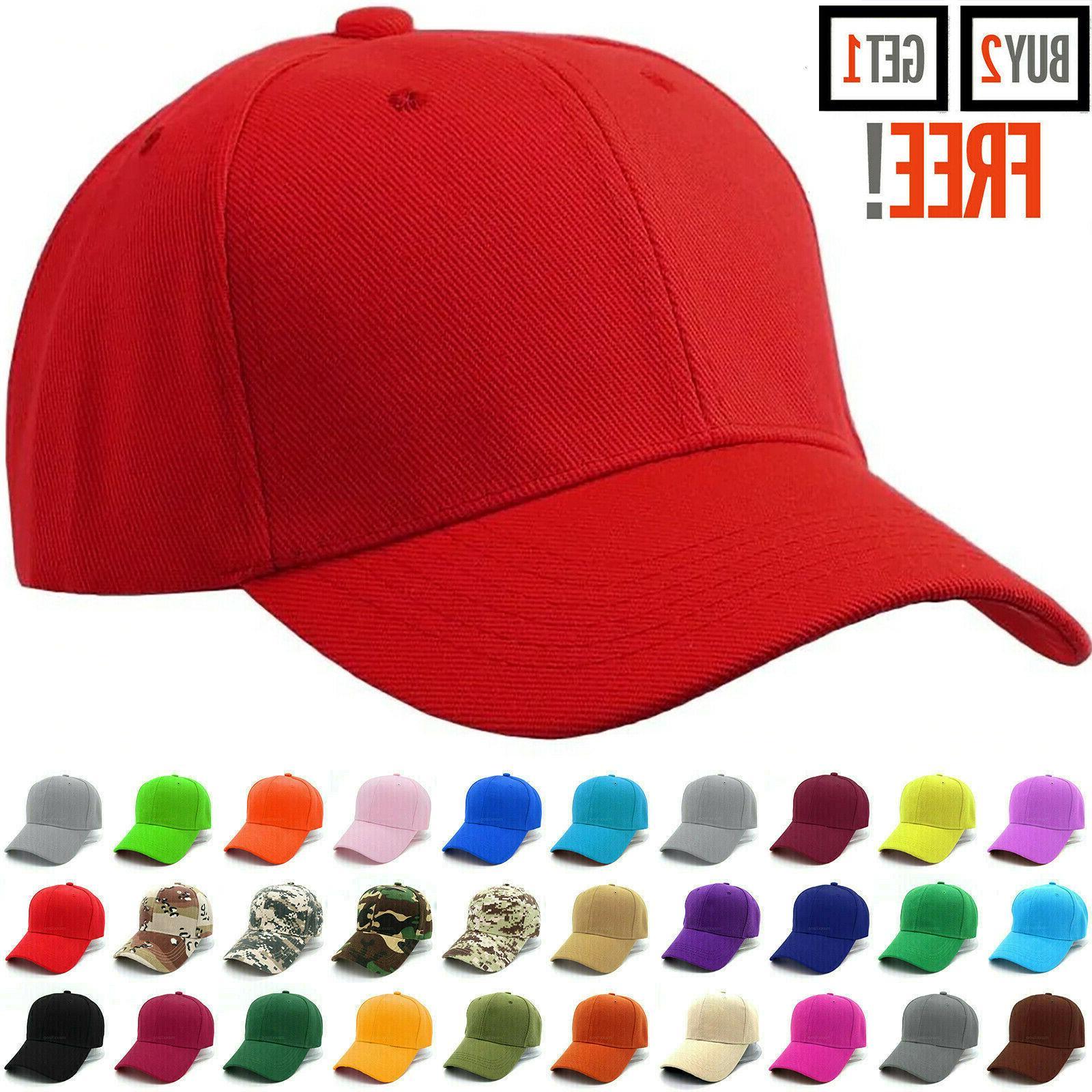 baseball cap plain blank strapback adjustable solid