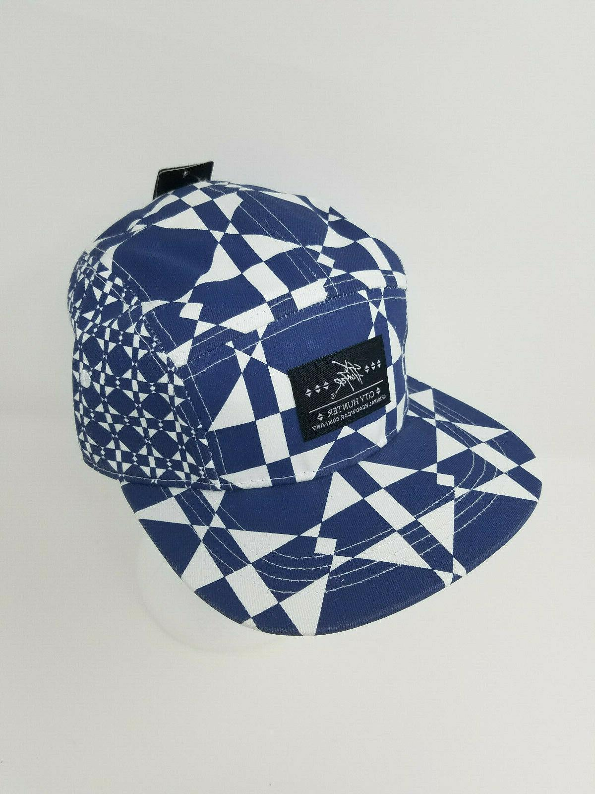 blue and white strapback baseball hat cap