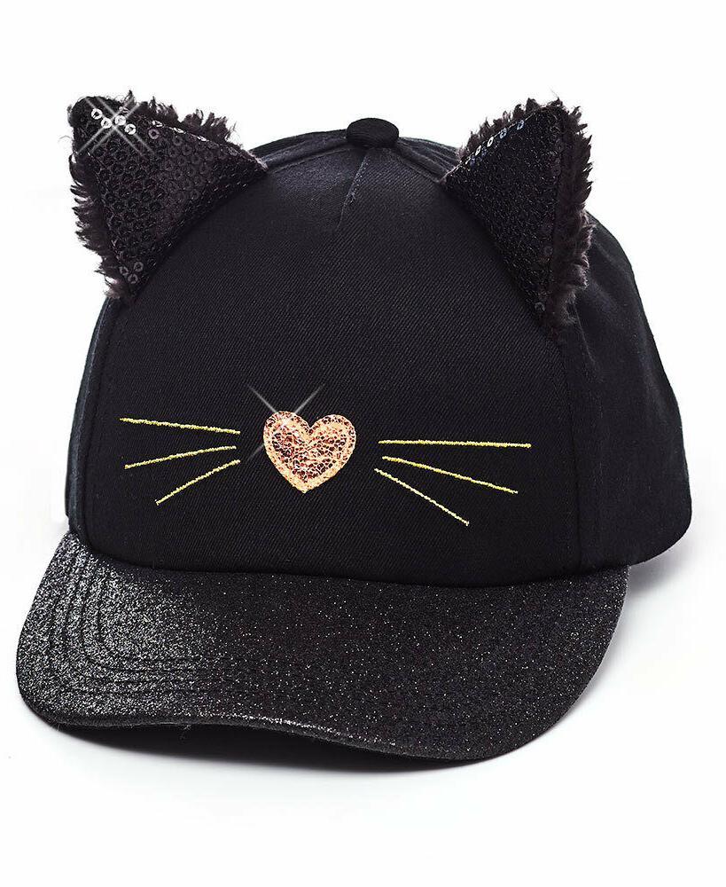 girls baseball hat cap black kitty cat