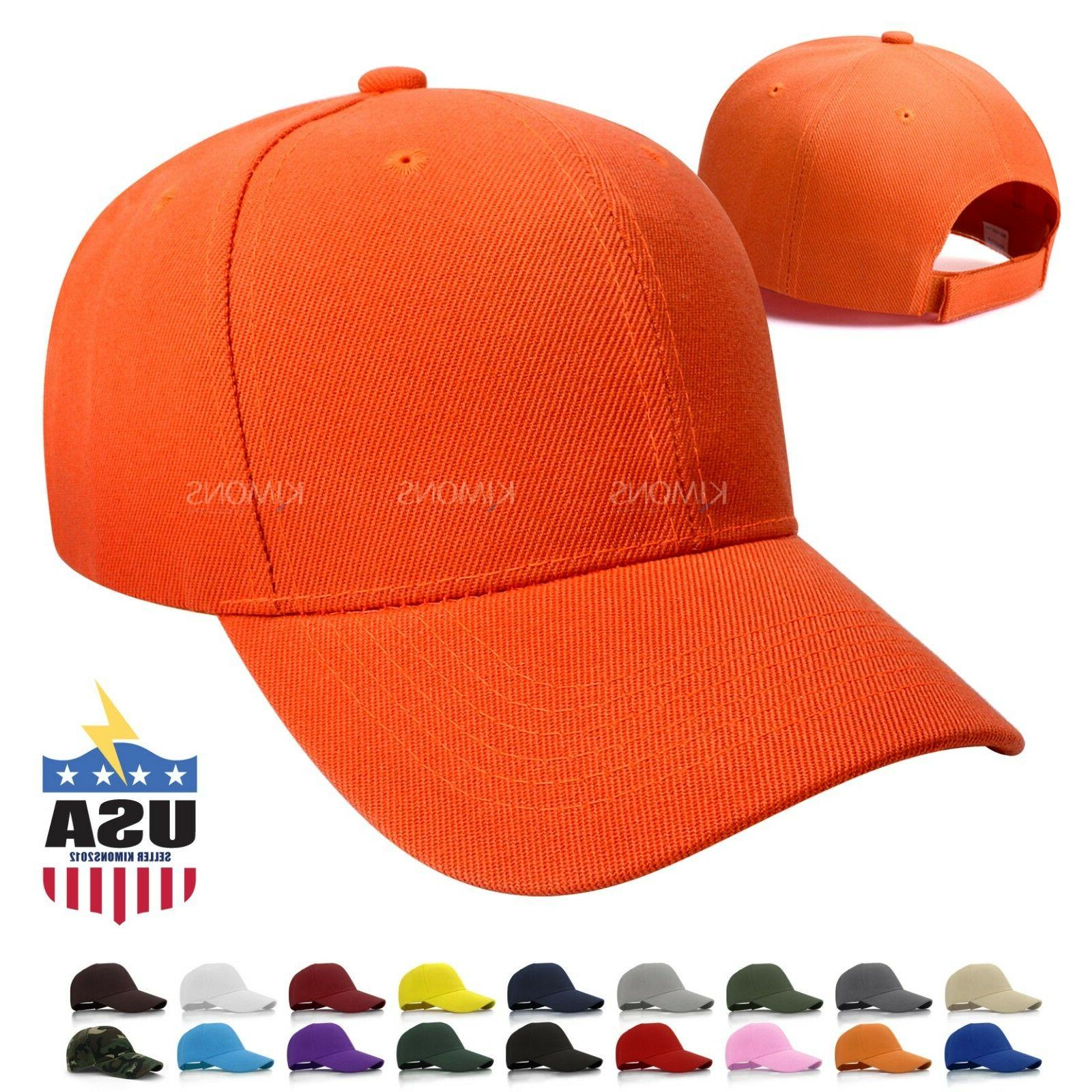 Hook-N-Loop Plain Baseball Cap Solid Color Blank Army Hat Ad