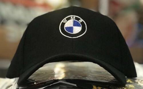 BMW Men's Baseball Cap Roundel Logo Hat 6 Panel  BLACK M Pow