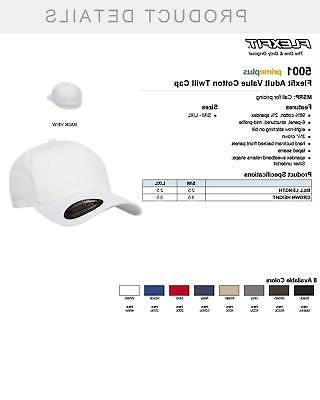 Flexfit Men Cotton Fitted Baseball Plain Hat Cap, 5001, S/M-L/XL