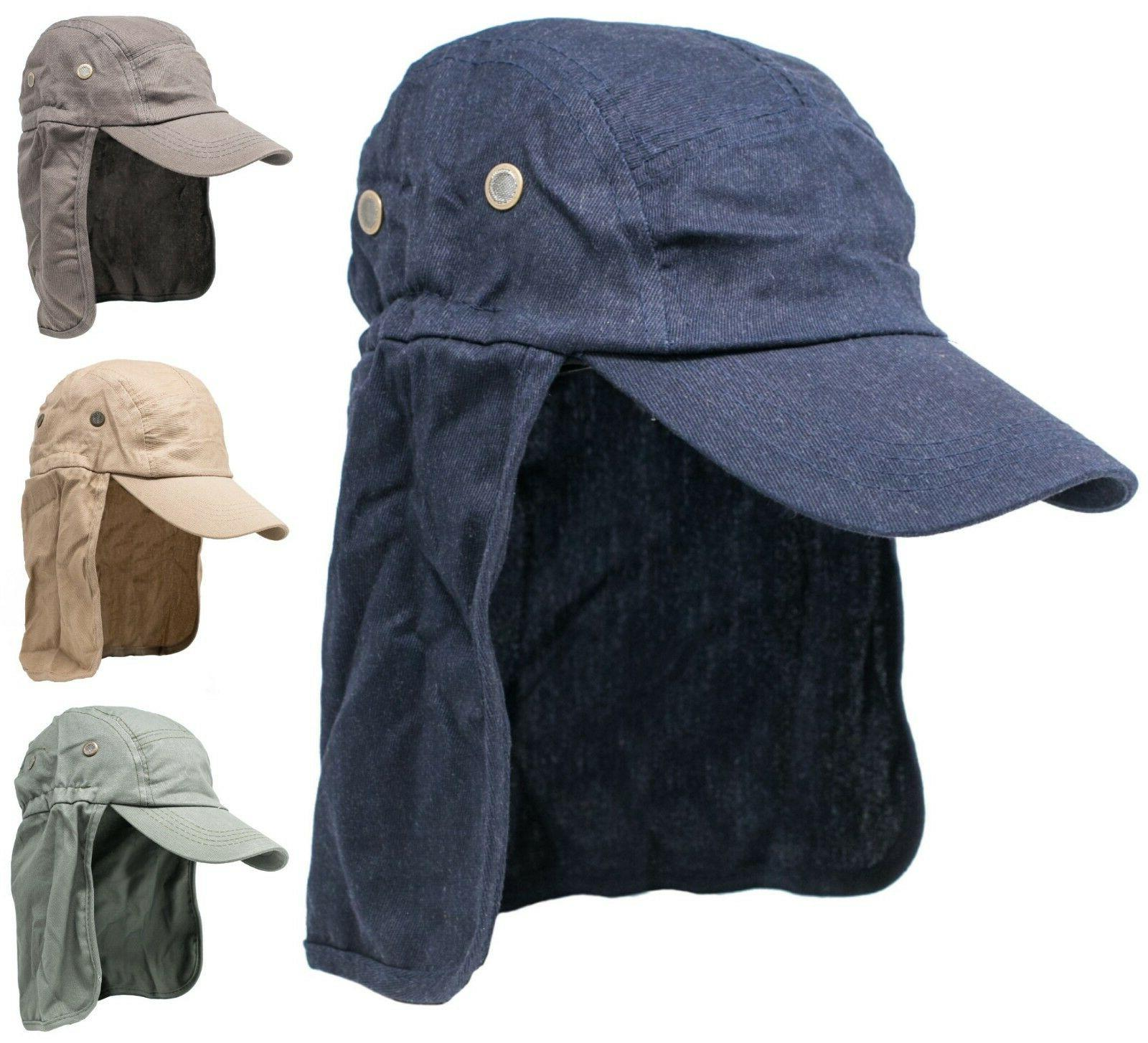 Men's Summer Baseball Cap w/ Neck Ear Flap Cover Sun Protect