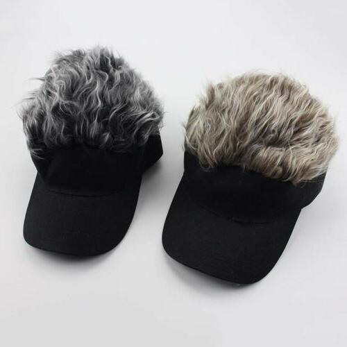 Women Men Flair Hair Sun Visor Cap with Fake Hair Wig Novelt