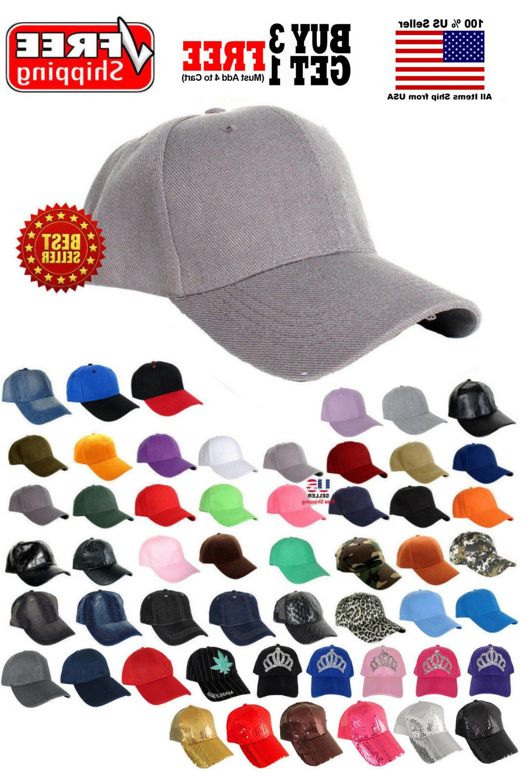 Men Women New Plain Solid Color Baseball Cap Curved Visor Ha