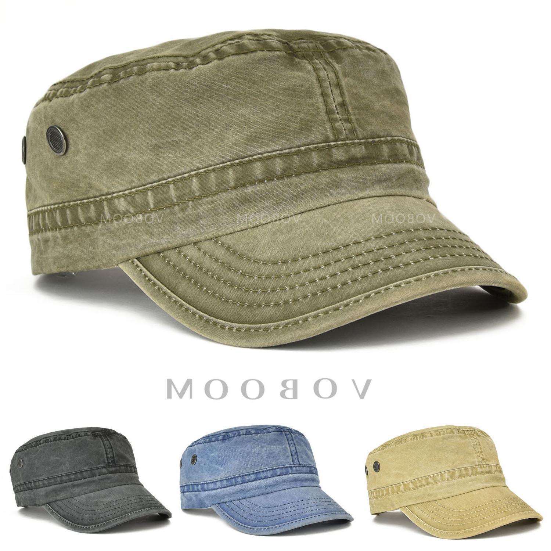 VOBOOM Mens Army Cap Trucker Baseball Cap Retro Solid Cotton