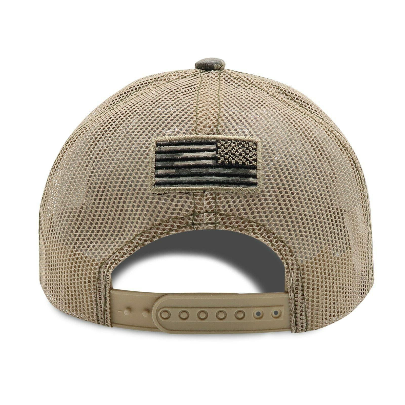 Mens Cotton Baseball USA Army American Tactical Trucker Mesh Hat