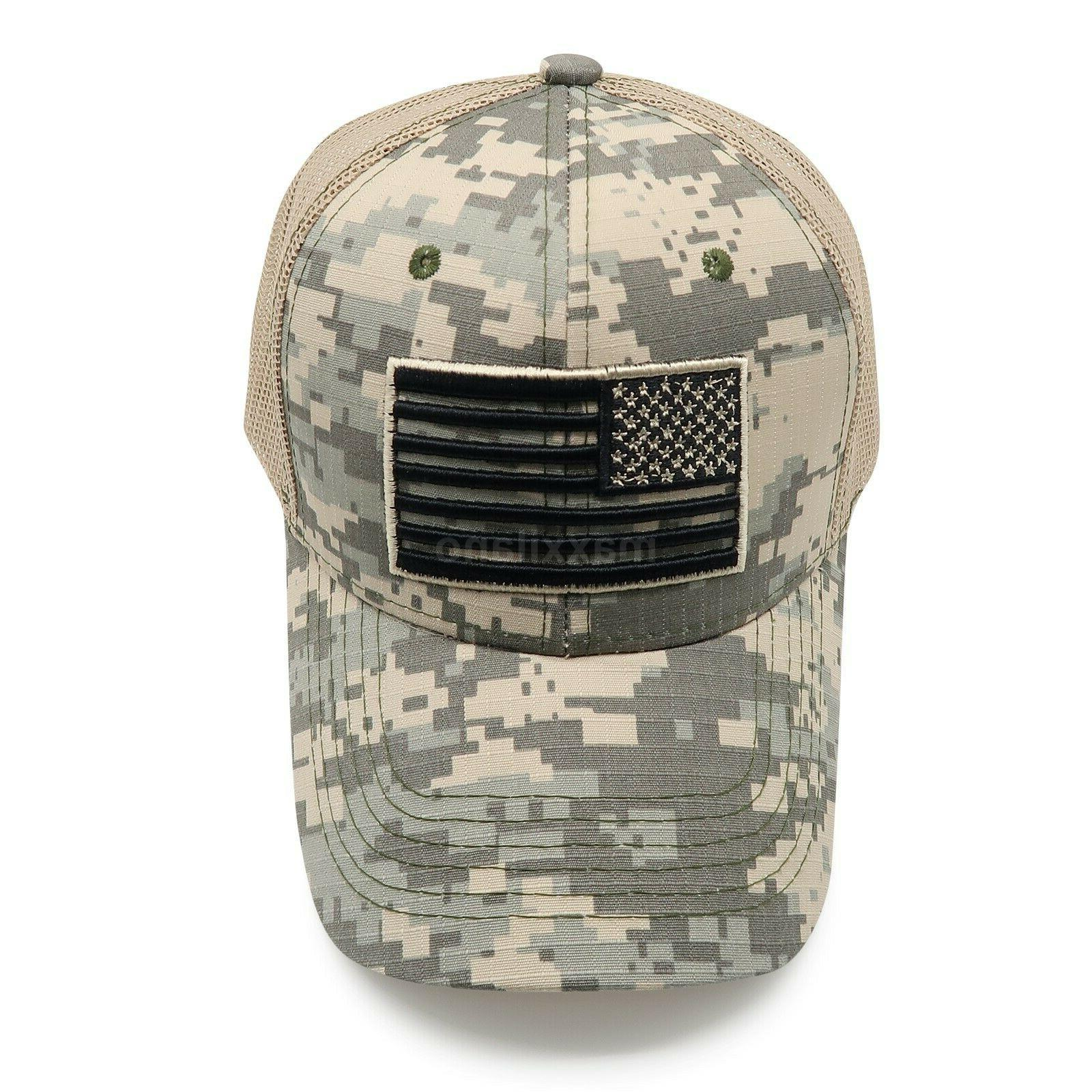 Mens Cotton USA American Flag Tactical Trucker Mesh Hat