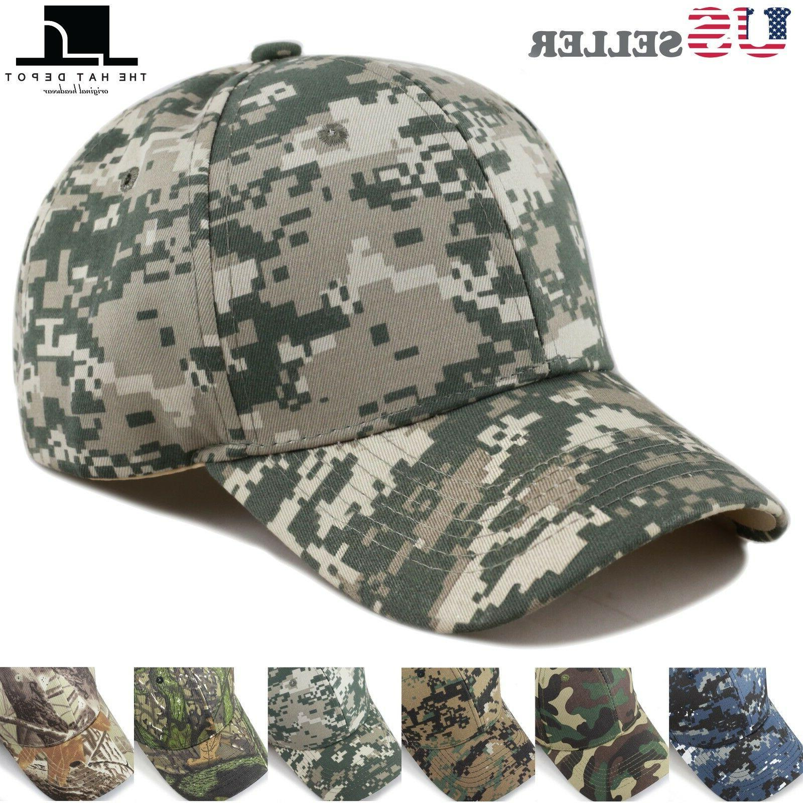THE HAT DEPOT Mens Plain Camouflage Baseball Cap Adjustable