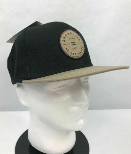 Billabong Mens Rotor Snap Back Baseball Cap Hat Black Beige