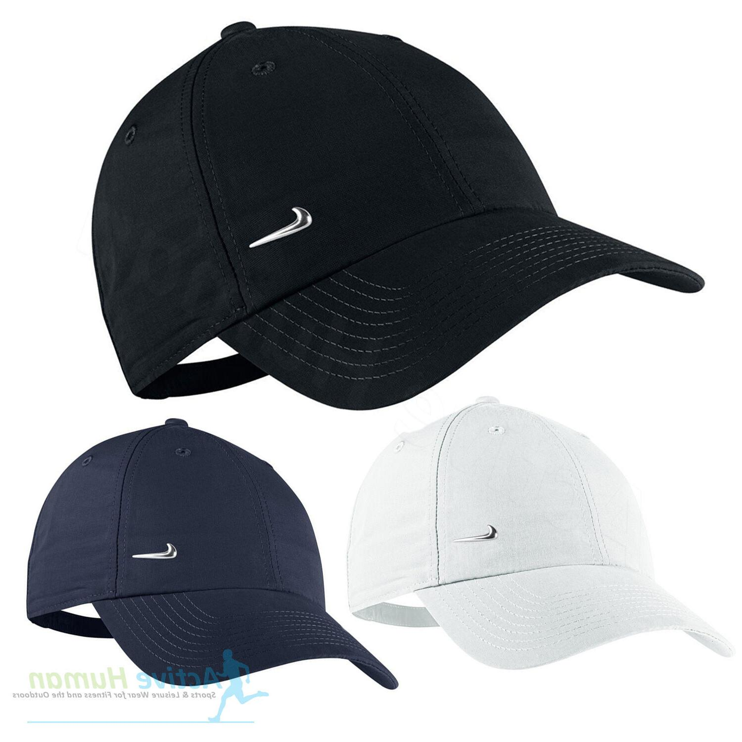 Nike Metal Swoosh Mens Sports Peak Cap Baseball Hat Logo Adj