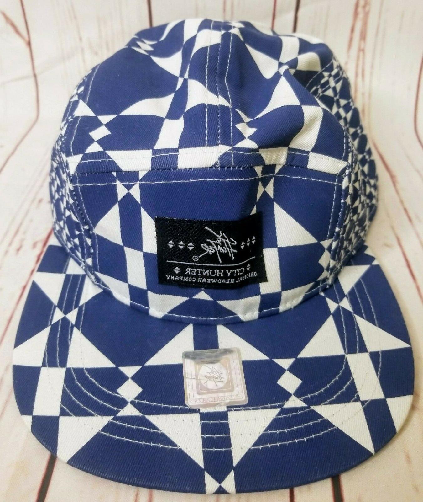 new blue white strapback baseball hat cap